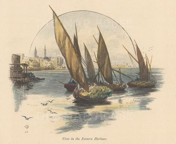 "Picturesque Mediterranean: Alexandria. c1880. A hand coloured original antique wood engraving. 6"" x 5"". [EGYp1114]"