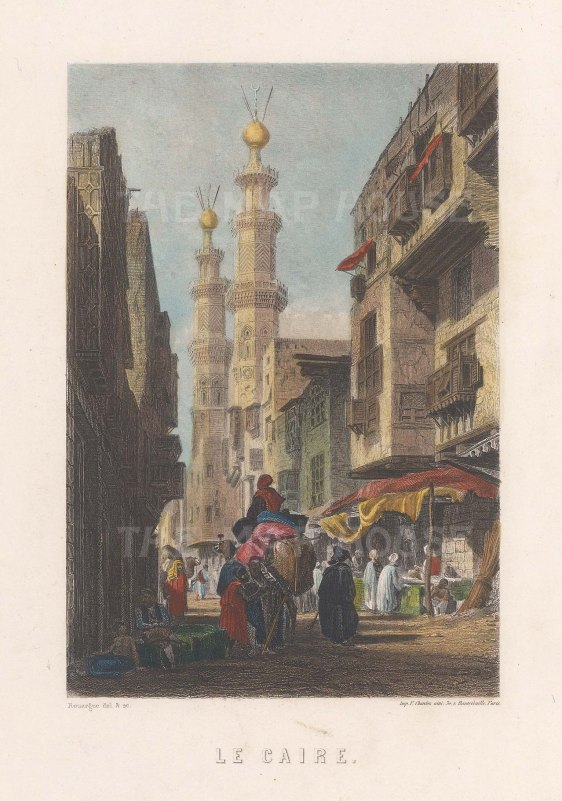 Street scene in Cario with view of the Al-Azhar Mosque.
