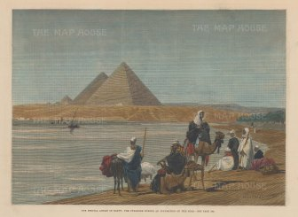 View of the Great Pyramids of Giza and the Nile floodplain.