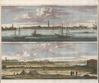 Double Panorama of the port with the minaret of Amr Ibn Al-Aas and the Nile towards the east of the city.