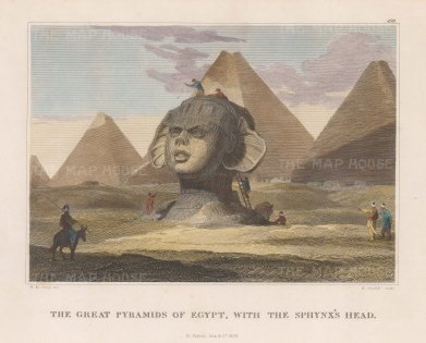 Sphynx with Pyramids in the background.