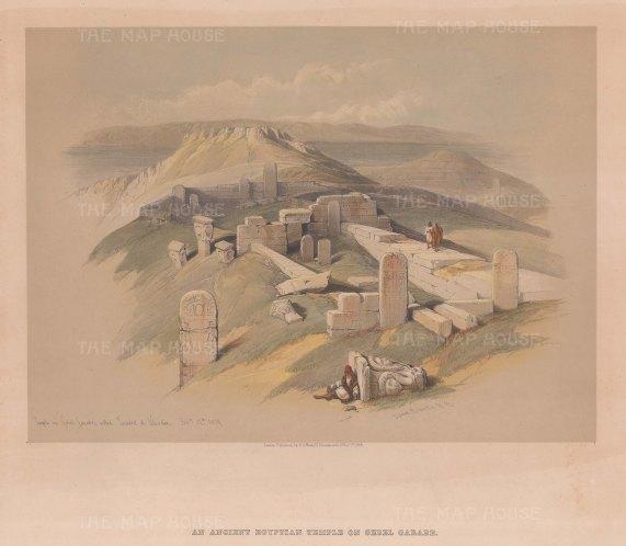 """Roberts: Temple of Surabit el Khadim, Sinai Peninsula. 1844. A hand coloured original antique lithograph. 14"""" x 10"""". [EGYp1138]"""