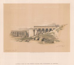 """Roberts: Temple of Typhonoeum, Dendera. 1848. A hand coloured original antique lithograph. 15"""" x 11"""". [EGYp1139]"""