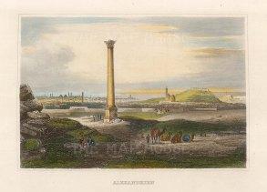 "Meyer: Alexandria. 1836. A hand coloured original antique steel engraving. 6"" x 4"". [EGYp1142]"