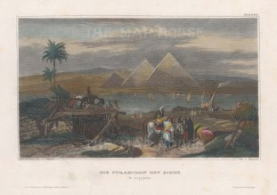 View of the Great Pyramids from the Nile.