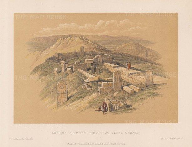 """Roberts: Temple of Surabit el Khadim, Sinai Peninsula. c1875. A hand coloured original antique lithograph. 8"""" x 5"""". [EGYp1154]"""