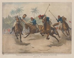 """Graphic Magazine: Teaching the Trooper to Play Polo, Egyptian Cavalry. 1899. A hand coloured original antique photo-lithograph. 13"""" x 10"""". [EGYp1162]"""