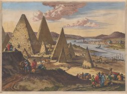 Pyramids and Sphynx: Showing the Nile valley, Giza and two sphinxes, both with intact noses. After Ollfert Dapper's view of 1665 based on Jesuit descriptions.