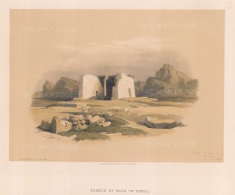 "Roberts: Temple of Tafa, Nubia. 1833. A hand coloured original antique lithograph. 15"" x 11"". [EGYp231]"