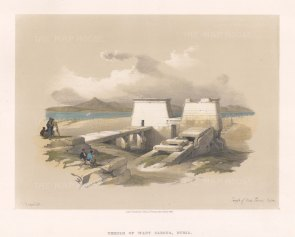 """Roberts: Temple of Wady Saboua, Nubia. 1847. A hand coloured original antique lithograph. 14"""" x 10"""". [EGYp572]"""