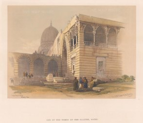"""Roberts: Tombs of the Caliphs, Cairo. 1848. A hand coloured original antique lithograph. 15"""" x 11"""". [EGYp744]"""