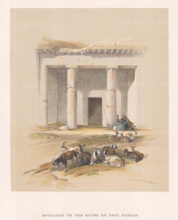 "Roberts: Beni Hassan. 1849. A hand coloured original antique lithograph. 10"" x 14"". [EGYp76]"