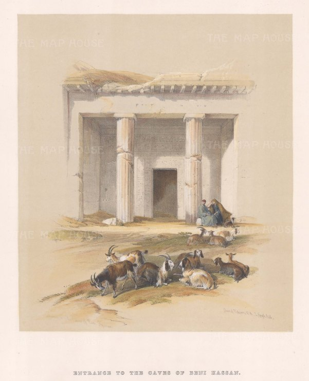 "Roberts: Beni Hassan. 1849. A hand coloured original antique lithograph. 10"" x 14"". [EGYp76]"