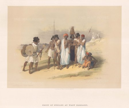 """Roberts: Wady Kardassy, Nubia. 1847. A hand coloured original antique lithograph. 15"""" x 11"""". [EGYp837]"""