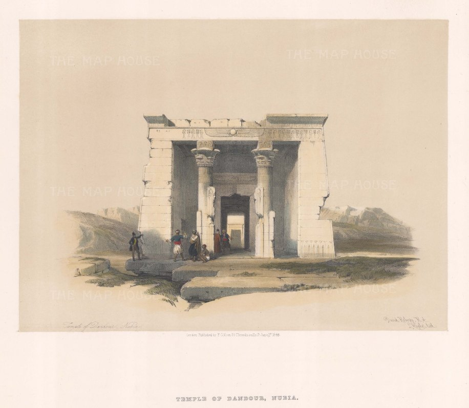 "Roberts: Temple of Dandour, Nubia. 1848. A hand coloured original antique lithograph. 15"" x 11"". [EGYp893]"