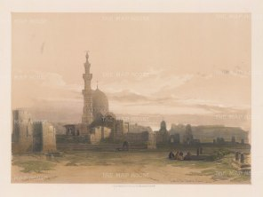 """Roberts: Tombs of the Caliphs, Cairo. 1848. A hand coloured original antique lithograph. 14"""" x 11"""". [EGYp916]"""
