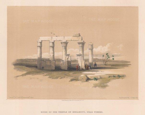 "Roberts: Medinant Habu. 1847. A hand coloured original antique lithograph. 14"" x 11"". [EGYp918]"