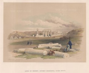 Erment, Ancient Hermontis, Upper Egypt: View of the temple ruins originally dedicated to the war-god Montu.
