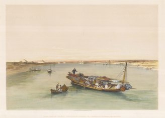 Slave Boat on the Nile: View looking towards the Pyramids of Dashour and Saccara.