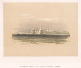 """Roberts: Colossi of Memnon, Thebes. 1838. A hand coloured original antique lithograph. 15"""" x 13"""". [EGYp978]"""