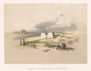 """Roberts: Temple of Wady Saboua, Nubia. 1847. A hand coloured original antique lithograph. 15"""" x 13"""". [EGYp982]"""