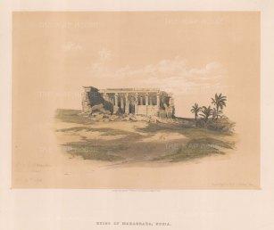 "Roberts: Temple of Isis and Serapis, Maharraka, Nubia. 1846. A hand coloured original antique lithograph. 15"" x 13"". [EGYp990]"