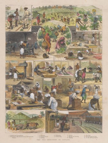 "Graphic Magazine: Tea. 1891. A hand coloured original antique wood engraving. 9"" x 13"". [INDp1547]"