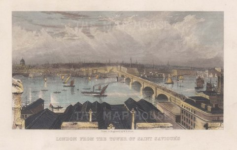 London from the Tower of St Saviour's: Panorama showing St Paul's and London Bridge.
