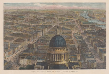 From between the clock and bell towers of St.Paul's looking towards Westminster. The Lord Mayor's Procession can be seen going up Fleet Street and Ludgate Hill. After Sir John Sulman.