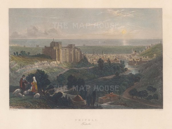"Bartlett: Tripoli. 1838. A hand coloured original antique steel engraving. 9"" x 7"". [MEASTp1712]"