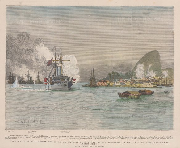 Bombardment of the harbour by Admiral Mello during the naval revolts. With text and key to ships.