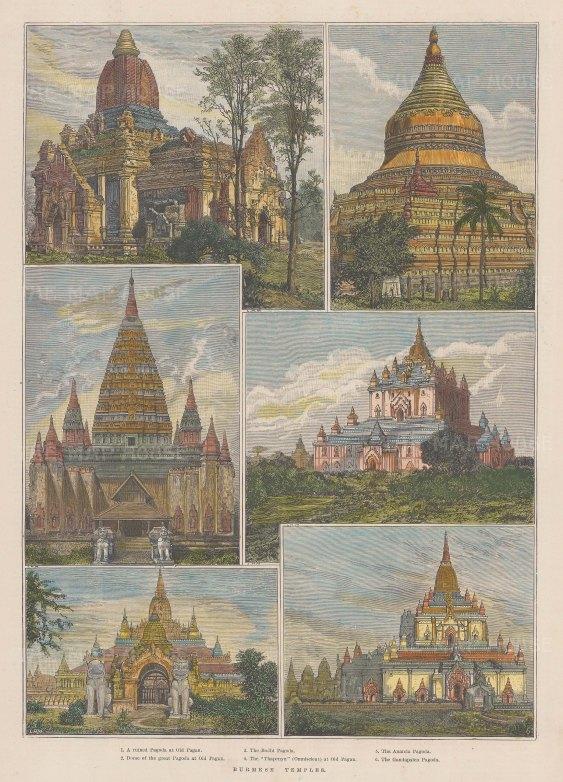 """Pagoda at Old Pagan, dome of the great Pagoda at Old Pagan, the Bodji Pagoda, the """"Thapenyu"""" (Omniscient) at Old Pagan, the Ananda Pagoda and the Gandapalen Pagoda."""