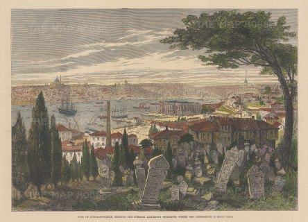 View of the city showing the Admiralty Buildings from over the graveyard.