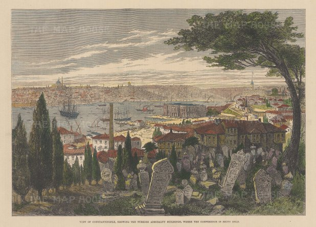 Constantinople: View of the city showing the Admiralty Buildings from over the graveyard.
