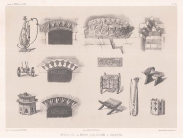 Several sketches showing the implements and architecture of a house in Diyarbakır.