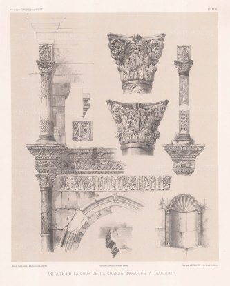 Sketches illustrating architectural details from the Mosque of Diyarbakır.