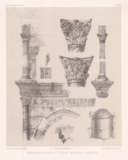 ketches illustrating architectural details from the Mosque of Diyarbakır.