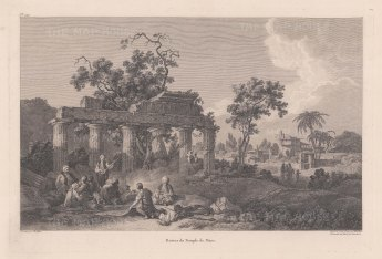 Temple of Mars. View of the majestic ruins with the town in the background.