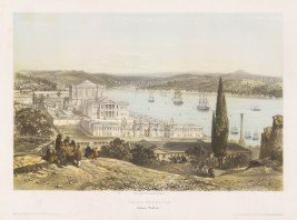 Dolmabahçe Palace: Bird's-eye view from the hills over the palace and Sea of Marmara.