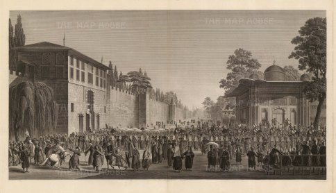 Festival of Bairam (Eid): The solemn march of the Sultan's retinue attended by courtiers, Europeans and residents of the city.