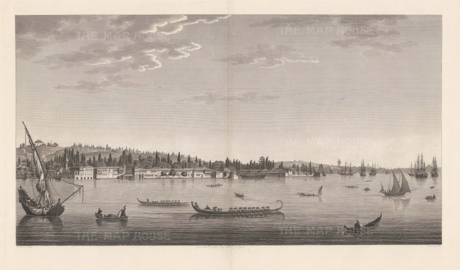 Aïnali-Kavak: View near the Arsenal in the interior of the port on the north-eastern coast. Artist and architect to the Ottoman court, Melling later became a favourite of the Empress Josephine of France.