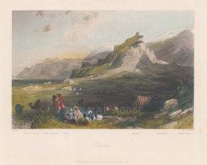 "Fisher: Sardis. 1838. A hand coloured original antique steel engraving. 9"" x 7"". [TKYp1281]"