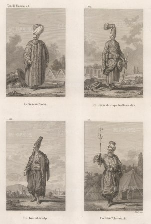 Officers of the Court: Toptchi Bachi (General of heavy artillery), Chatir du corps des Bostandjis ( Chef Guard of the Seraglio), Artillery bombardier (Koumbaradji), and Master of ceremonies (Alai-tchavouch).