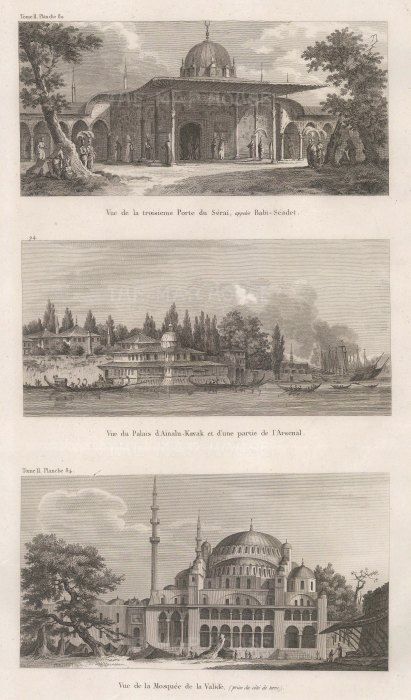 Triple view: Third gate to the Sergalio (Babi- seade), Aynalıkavak Palace with part of the arsenal and Yeni Valide Mosque.