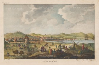 Panoramic view of the city. Scarce lithographic example after Chouseul de Gouffier.