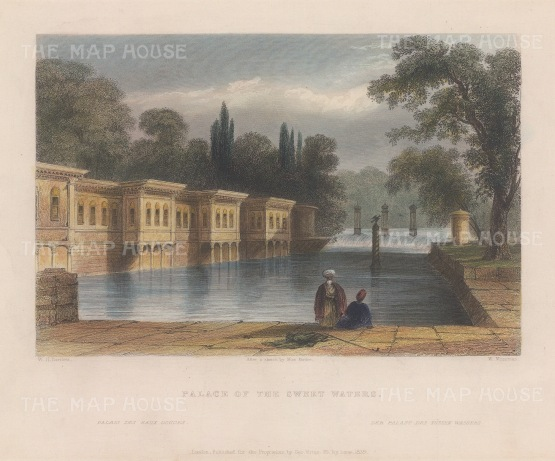 """Bartlett: Palace of the Sweet Waters, Istanbul. 1838. A hand coloured original antique steel engraving. 8"""" x 5"""". [TKYp1319]"""
