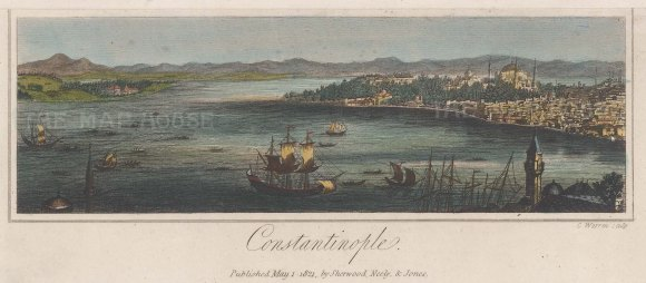 Panoramic view of Constantinople: View looking along the Golden Horn.