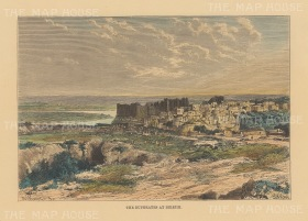 View of the city and limestone cliffs on the Euphrates.