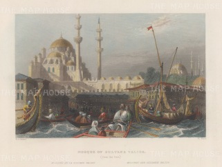 Constantinople: Mosque of Sultana Valida from the port.