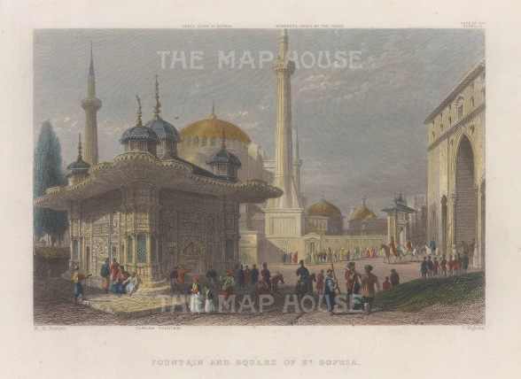 St Sophia: View of the Square and fountain built by Sultan Mahmud in 1740. With key to buildings.